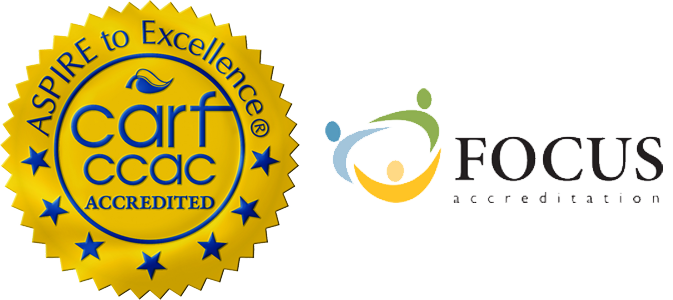 Logos for CARF and Focus accreditation standards